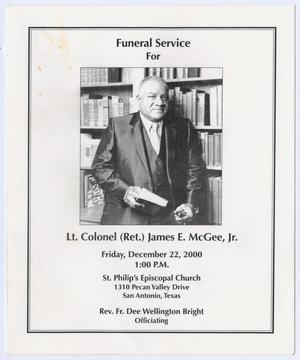 Primary view of object titled '[Funeral Program for James E. McGee, Jr., December 22, 2000]'.