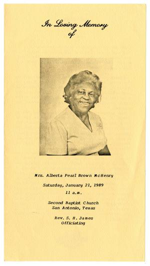 Primary view of object titled '[Funeral Program for Alberta Pearl Brown McHenry, January 21, 1989]'.