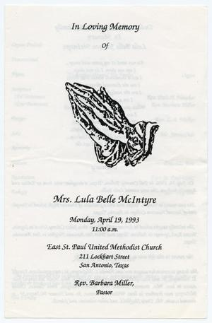 [Funeral Program for Lula Belle McIntyre, April 19, 1993]