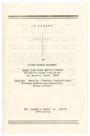Primary view of object titled '[Funeral Program for Azoria McKinney, February 28, 1976]'.
