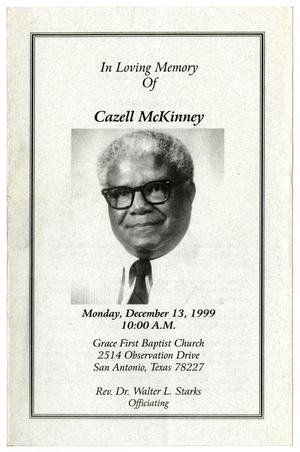 Primary view of object titled '[Funeral Program for Cazell McKinney, December 13, 1999]'.