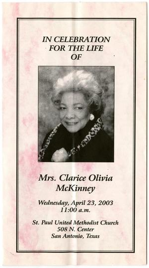 Primary view of object titled '[Funeral Program for Clarice Olivia McKinney, April 23, 2003]'.
