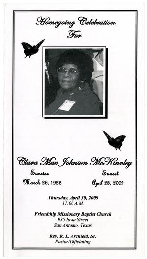 Primary view of object titled '[Funeral Program for Clara Mae Johnson McKinnley, April 30, 2009]'.