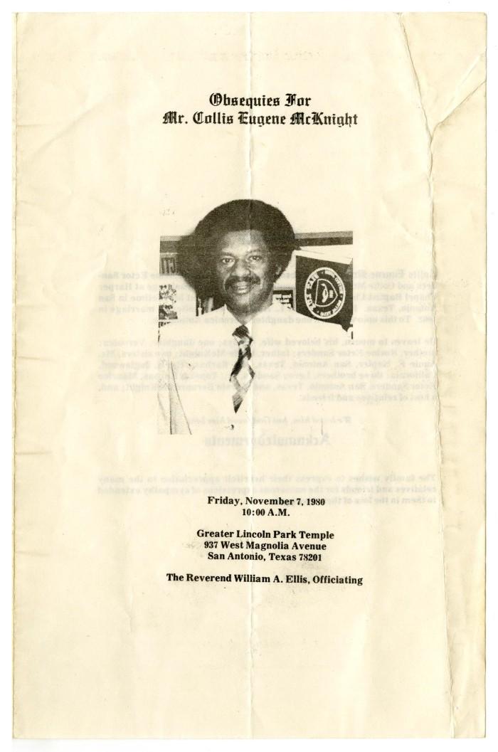 funeral program for collis eugene mcknight november 7 1980 the