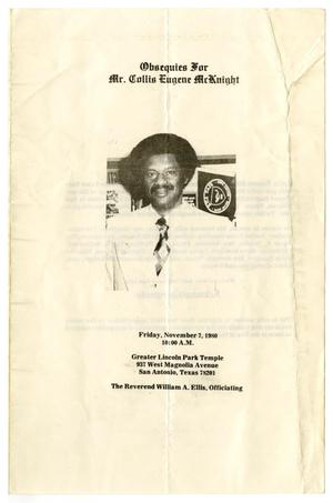 Primary view of object titled '[Funeral Program for Collis Eugene McKnight, November 7, 1980]'.