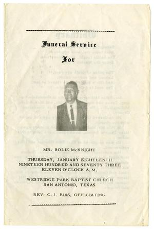 Primary view of object titled '[Funeral Program for Rolie McKnight, January 18, 1973]'.