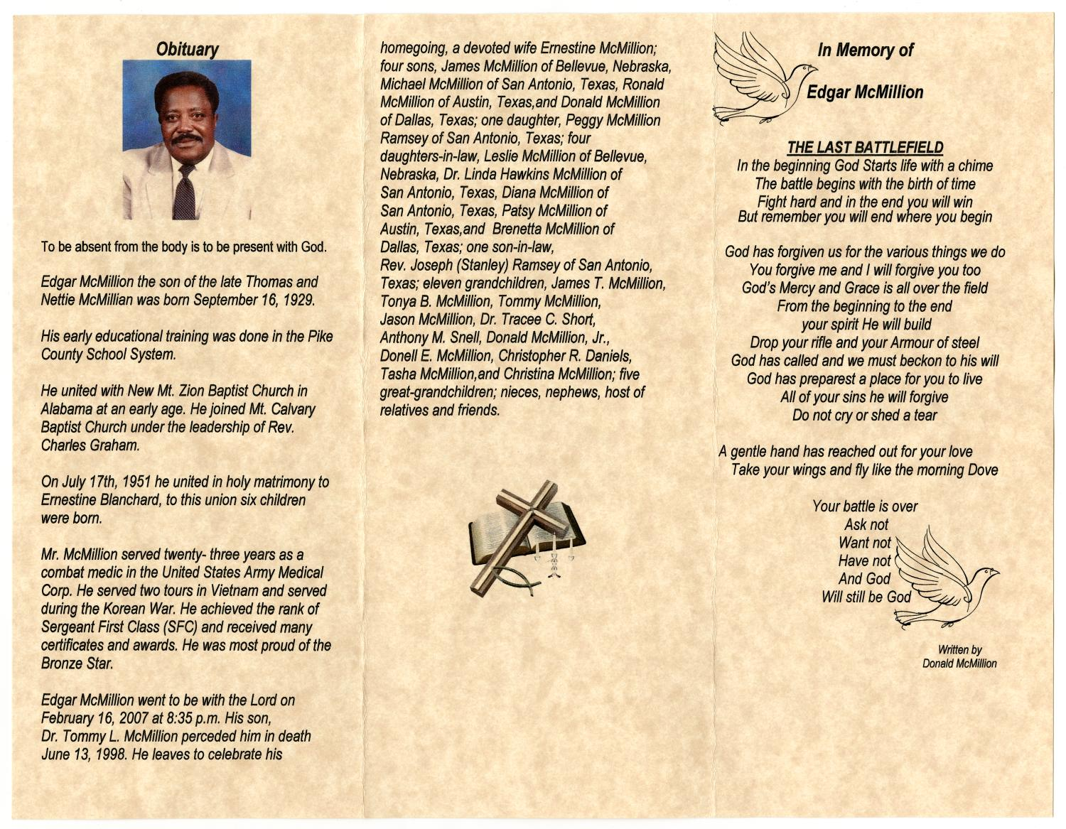 Funeral program for edgar mcmillion february 23 2007 page 2 funeral program for edgar mcmillion february 23 2007 page 2 of 3 the portal to texas history aiddatafo Choice Image