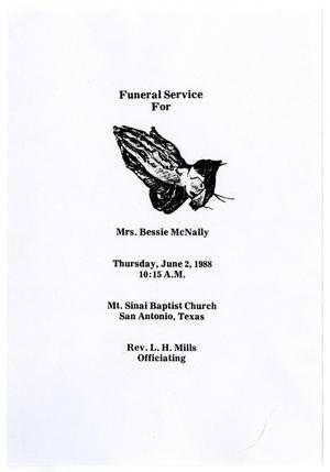 Primary view of object titled '[Funeral Program for Bessie McNally, June 2, 1988]'.