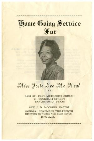Primary view of object titled '[Funeral Program for Josie Lee McNeal, November 13, 1967]'.