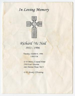 Primary view of object titled '[Funeral Program for Richard McNeil, October 8, 1996]'.