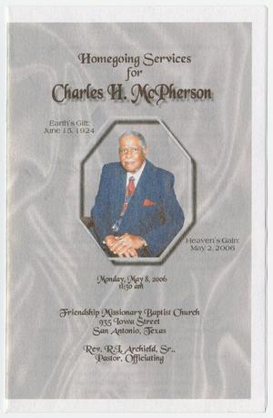 Primary view of object titled '[Funeral Program for Charles H. McPherson, May 8, 2006]'.