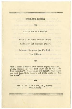 Primary view of object titled '[Funeral Program for Martha McPherson, May 13, 1961]'.