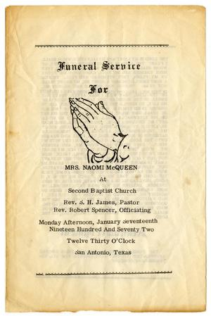 [Funeral Program for Naomi McQueen, January 17, 1972]