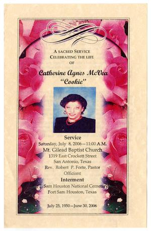Primary view of object titled '[Funeral Program for Catherine Agnes McVea, July 8, 2006]'.