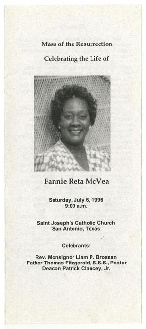 Primary view of object titled '[Funeral Program for Fannie Reta McVea, July 6, 1996]'.