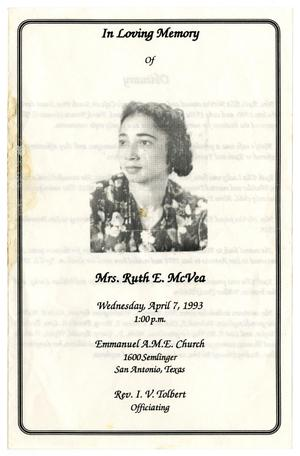 Primary view of object titled '[Funeral Program for Ruth E. McVea, April 7, 1993]'.