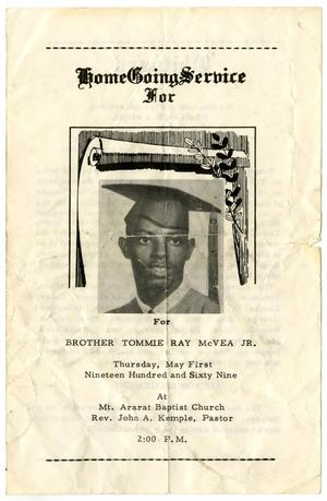 [Funeral Program for Tommie Ray McVea, Jr., May 1, 1969]