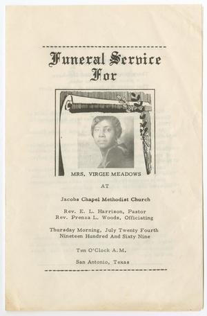 Primary view of object titled '[Funeral Program for Virgie Meadows, July 24, 1969]'.