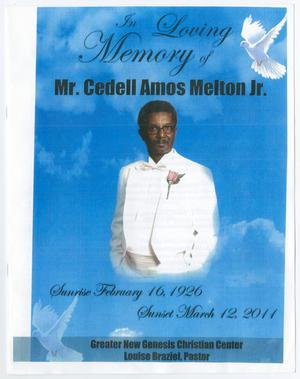 Primary view of object titled '[Funeral Program for Cedell Amos Melton]'.