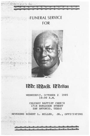 Primary view of object titled '[Funeral Program for Mack Melton, October 2, 1985]'.