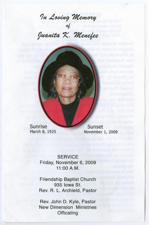 [Funeral Program for Juanita K. Menefee, November 6, 2009]