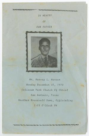 Primary view of object titled '[Funeral Program for Harvey L. Mercer, December 31, 1973]'.