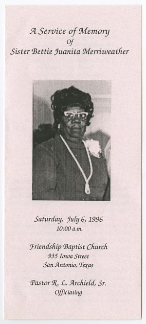 [Funeral Program for Bettie Juanita Merriweather, July 6, 1996]