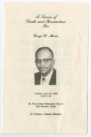 Primary view of object titled '[Funeral Program for George W. Mervin, April 20, 1982]'.