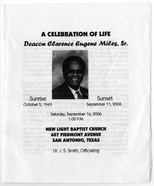 [Funeral Program for Clarence Eugene Miles, Sr., September 16, 2006]
