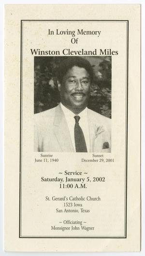 Primary view of object titled '[Funeral Program for Winston Cleveland Miles, January 5, 2002]'.