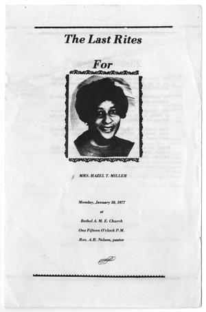 Primary view of object titled '[Funeral Program for Hazel T. Miller, January 10, 1977]'.