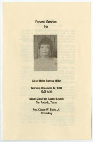 Primary view of object titled '[Funeral Program for Helen Reeves Miller, December 12, 1988]'.