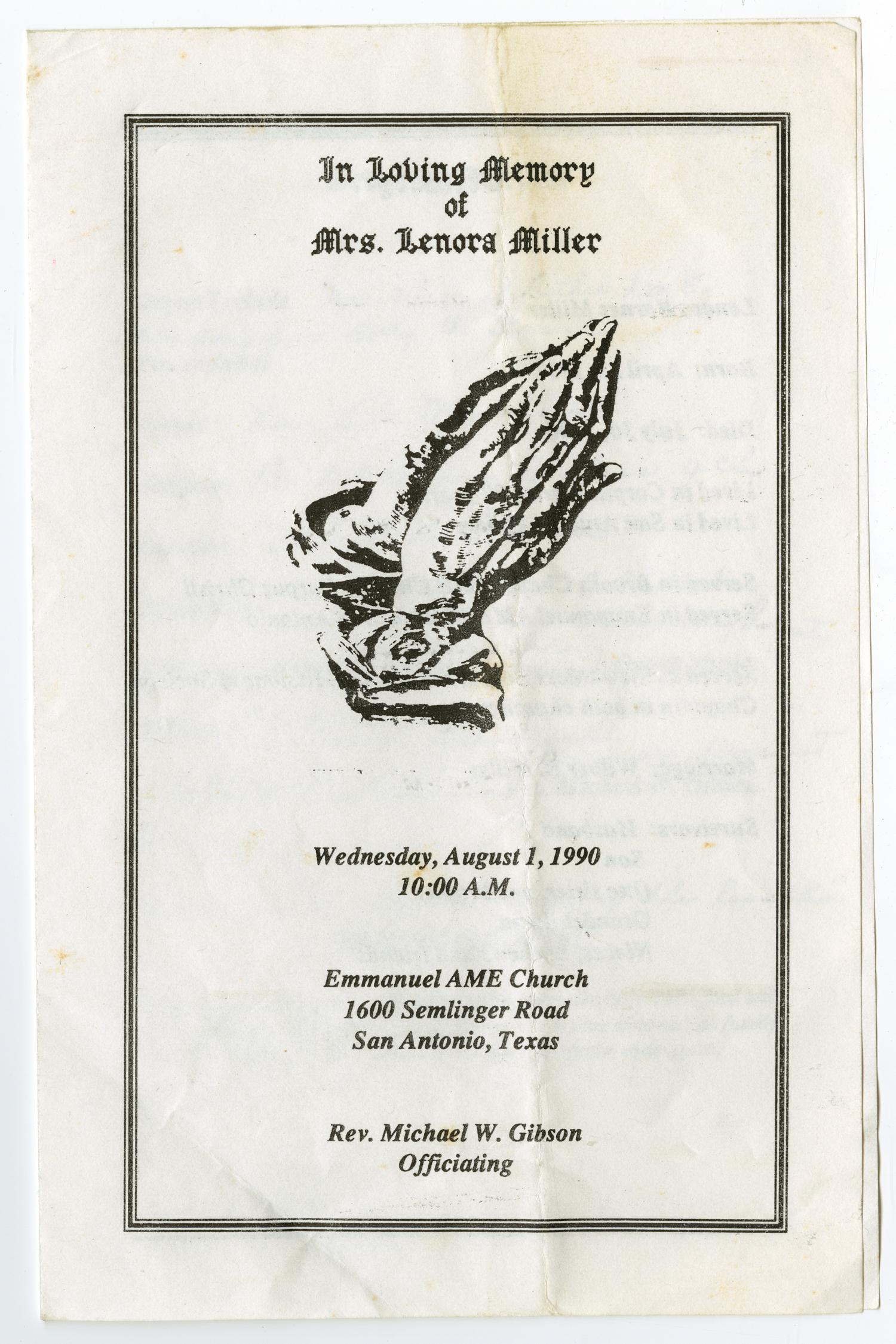 [Funeral Program for Lenora Miller, August 1, 1990]                                                                                                      [Sequence #]: 1 of 3