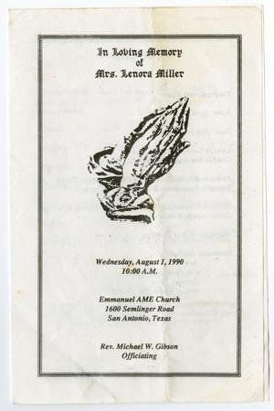 Primary view of object titled '[Funeral Program for Lenora Miller, August 1, 1990]'.