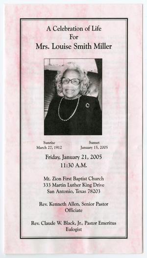 Primary view of object titled '[Funeral Program for Louise Smith Miller, January 21, 2005]'.