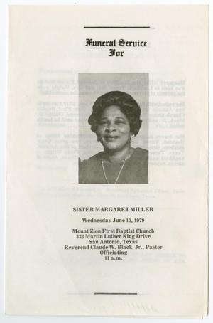 Primary view of object titled '[Funeral Program for Margaret Miller, June 13, 1979]'.