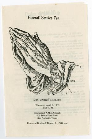 Primary view of object titled '[Funeral Program for Margie L. Miller, April 8, 1982]'.