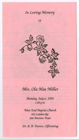 Primary view of object titled '[Funeral Program for Ola Mae Miller, July 6, 1992]'.