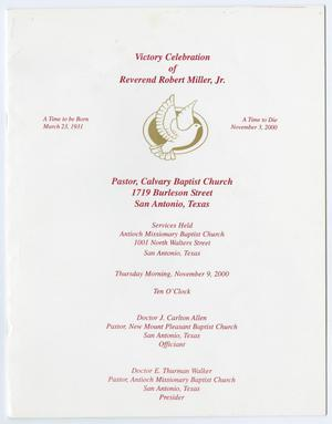 Primary view of object titled '[Funeral Program for Robert Miller Jr,, November 9, 2000]'.