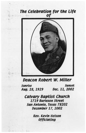 Primary view of object titled '[Funeral Program for Robert W. Miller, December 2002]'.
