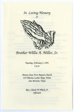 Primary view of object titled '[Funeral Program for Willie A. Miller, Sr., February 5, 1991]'.