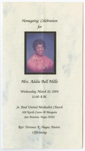 Primary view of object titled '[Funeral Program for Addie Bell Mills, March 10, 2004]'.