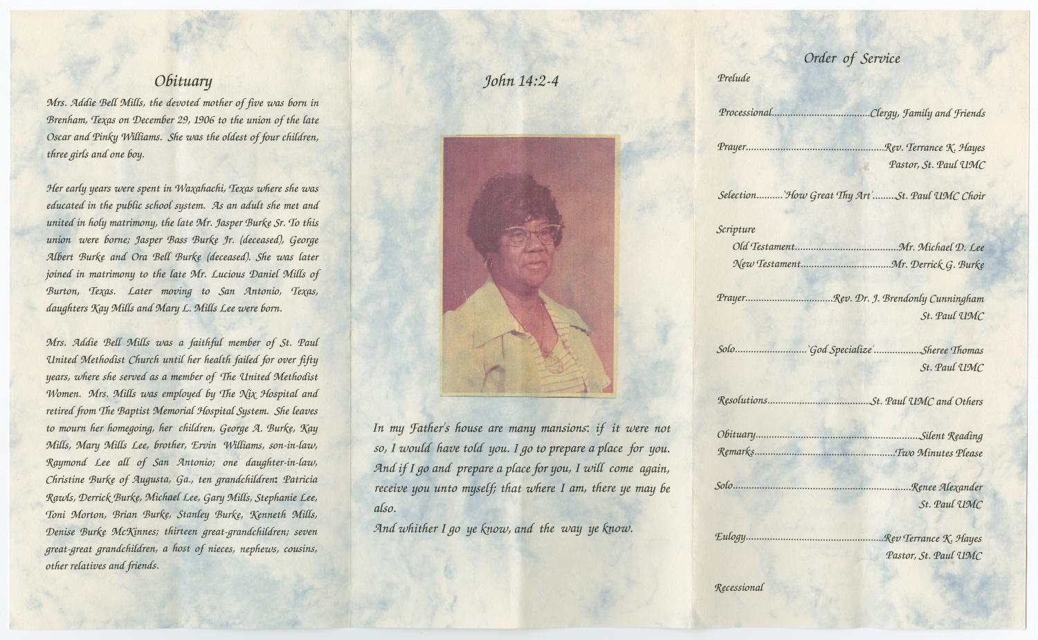 [Funeral Program for Addie Bell Mills, March 10, 2004]                                                                                                      [Sequence #]: 2 of 3
