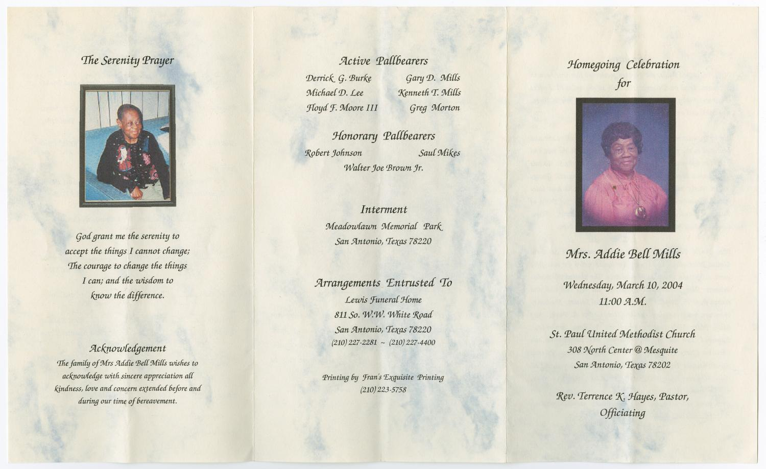 [Funeral Program for Addie Bell Mills, March 10, 2004]                                                                                                      [Sequence #]: 3 of 3