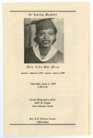 Primary view of object titled '[Funeral Program for Cora Mae Mills, June 6, 1990]'.