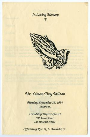 Primary view of object titled '[Funeral Program for Limon Troy Milton, September 26, 1994]'.