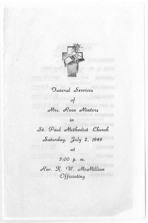 Primary view of object titled '[Funeral Program for Rosa Minters, July 2, 1949]'.
