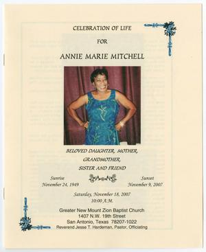 [Funeral Program for Annie Marie Mitchell, November 18, 2007]