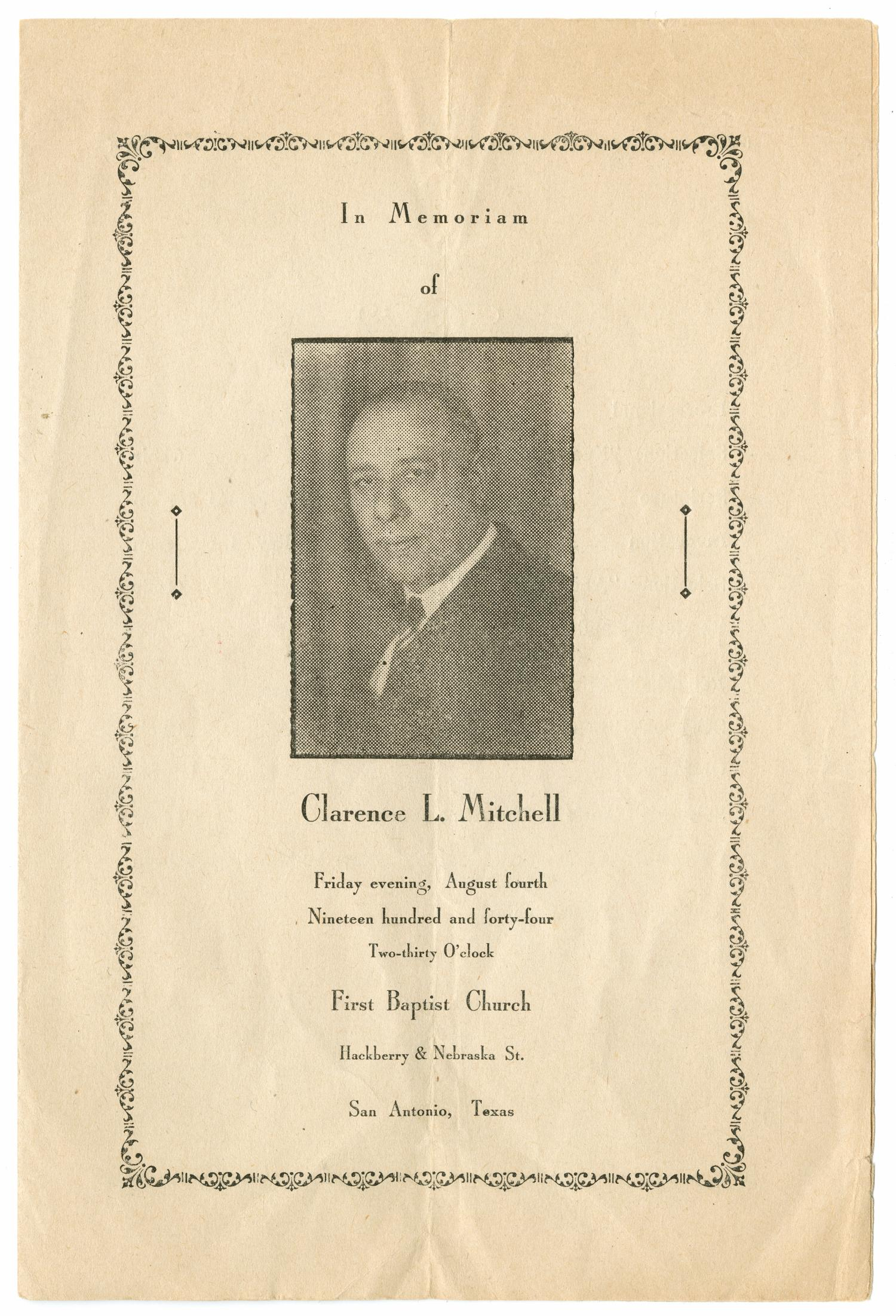[Funeral Program for Clarence L. Mitchell, August 4, 1944]                                                                                                      [Sequence #]: 1 of 3
