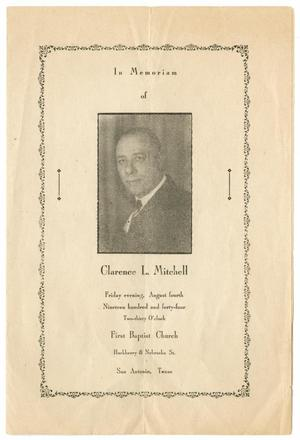 Primary view of object titled '[Funeral Program for Clarence L. Mitchell, August 4, 1944]'.